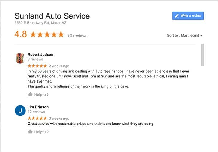 Sunland Auto Service Google Reviews screenshot
